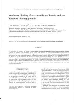 Nonlinear Binding of Sex Steroids to Albumin and Sex Hormone Binding Globulin